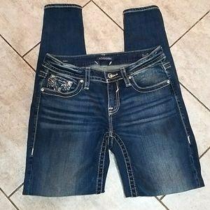 Vigoss Heritage Fit Skinny Embellished Jeans Sz 6